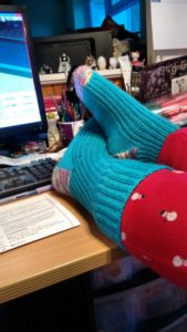 Socks knitted in Drops pattern 'Woody'